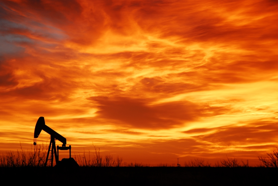 Pumpjack and sunset in West Texas