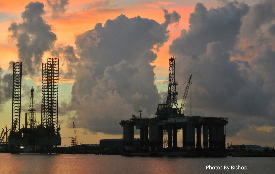 A Floater and a Jack-up rig moored near Galveston Island, TX