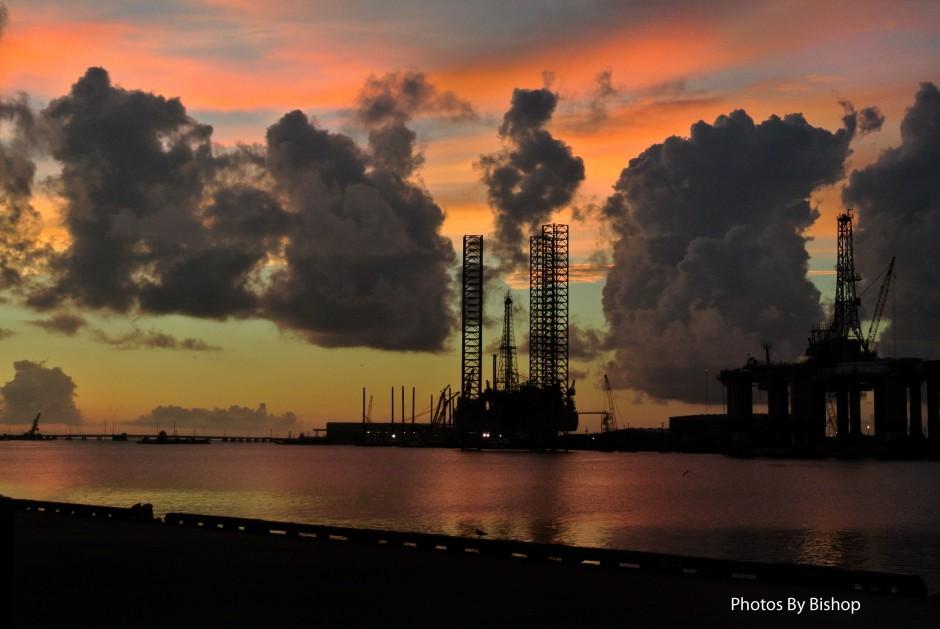 Sunset behind a Jack-up rig near Galveston Island Texas