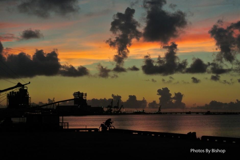 Galveston Island Sunset - Bicyclist enjoying the view