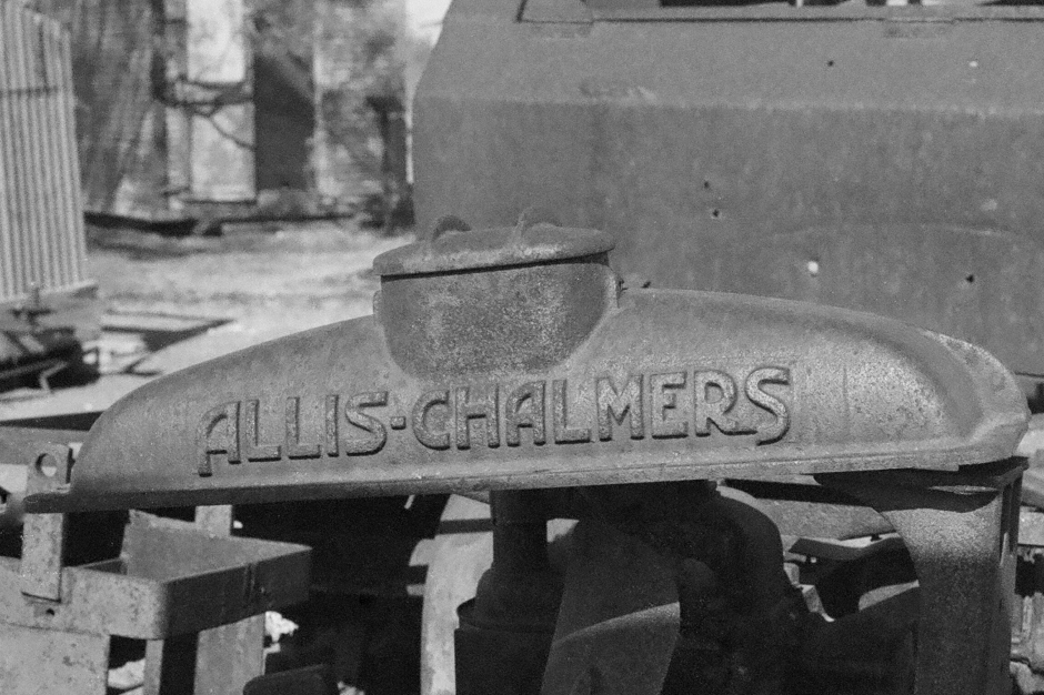 Allis Chalmers radiator top from an old tow tractor - towed a cable tool rig from location to location.