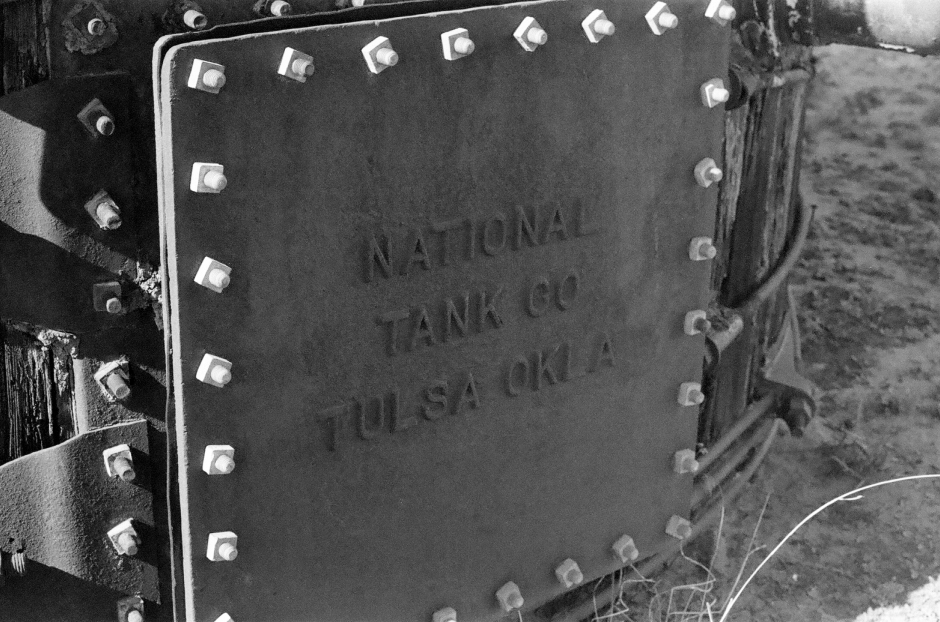 Tanks man way on an old oilfield tank.