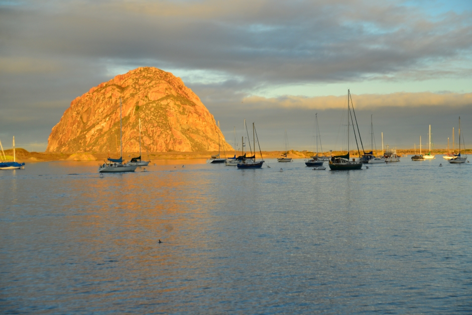 Morro Rock and some of the anchored boats in the bay.